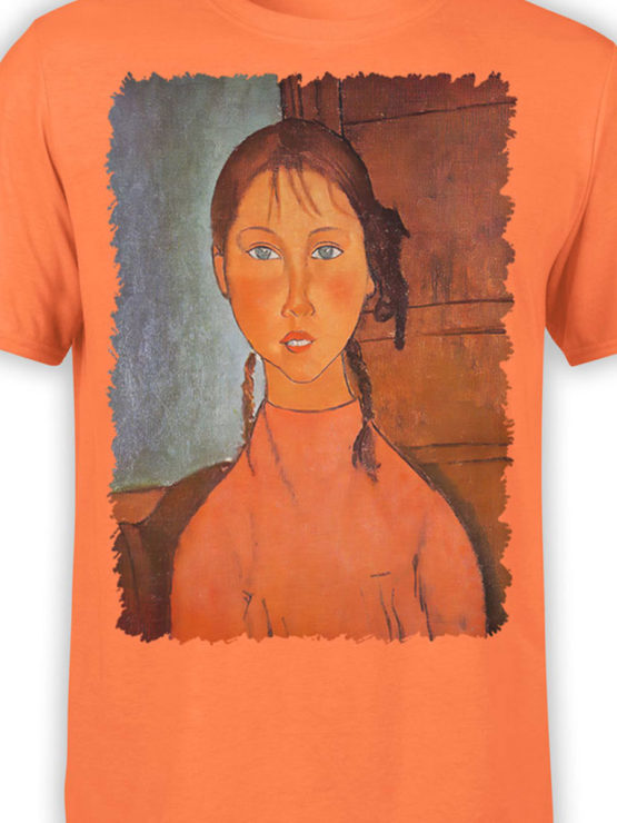 1366 Amedeo Modigliani T Shirt Girl with Pigtails Front Color