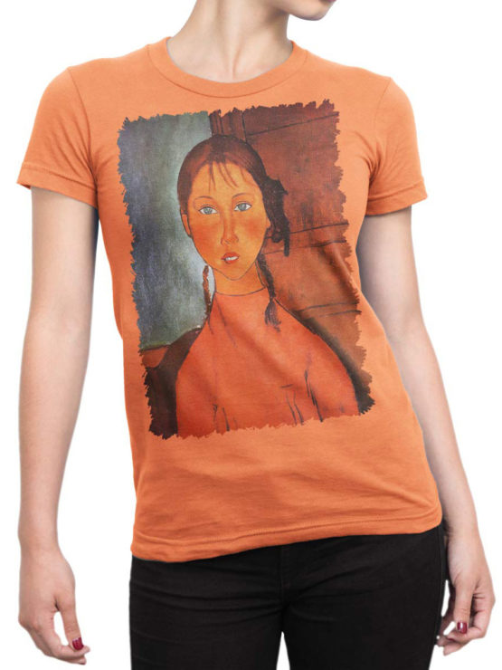 1366 Amedeo Modigliani T Shirt Girl with Pigtails Front Woman