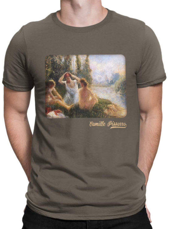 1381 Camille Pissarro T Shirt Bathers Seated on the Banks of a River Front Man