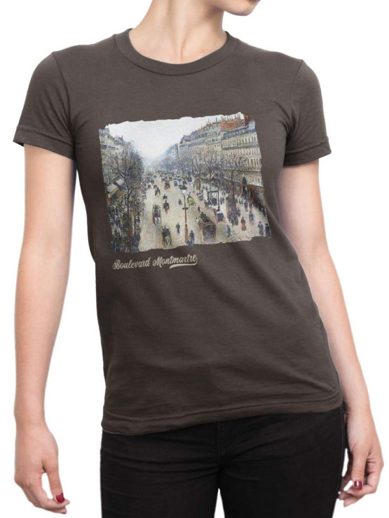 1382 Camille Pissarro T Shirt Boulevard Montmartre Morning Front Woman