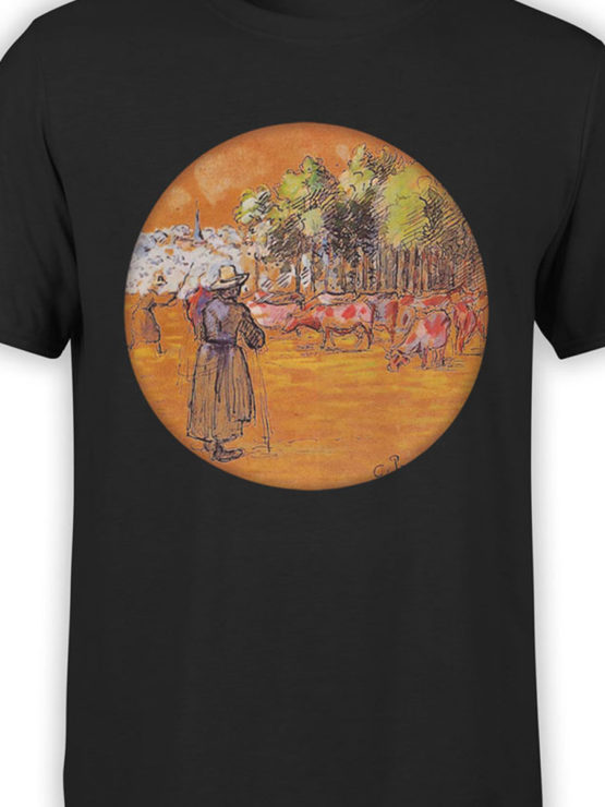 1383 Camille Pissarro T Shirt Cowherds Bazincourt Front Color