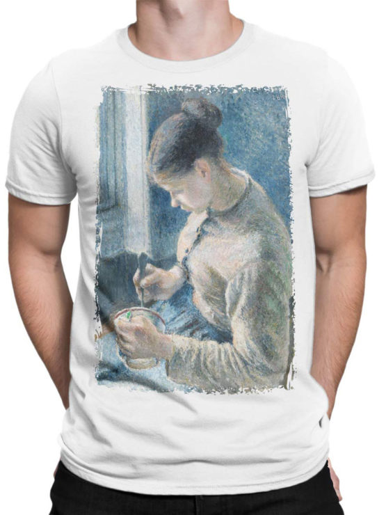 1384 Camille Pissarro T Shirt Breakfast Young Peasant Woman Taking Her Coffee Front Man