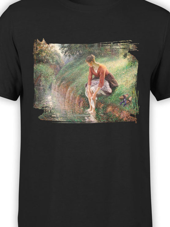 1387 Camille Pissarro T Shirt Young Woman Bathing Her Feet Front Color