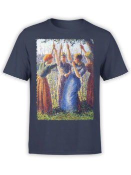 1388 Camille Pissarro T Shirt Peasant Women Planting Stakes Front