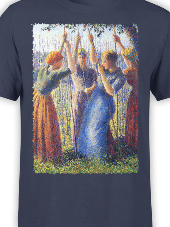 1388 Camille Pissarro T Shirt Peasant Women Planting Stakes Front Color