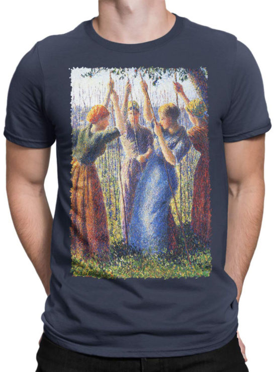 1388 Camille Pissarro T Shirt Peasant Women Planting Stakes Front Man
