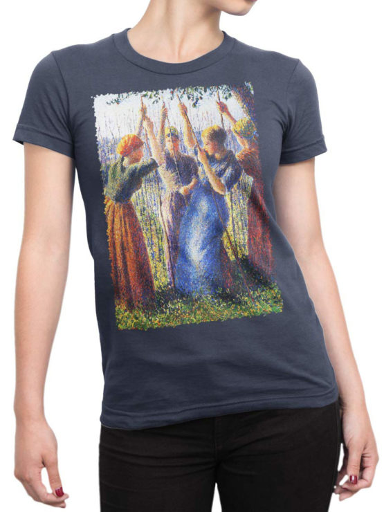 1388 Camille Pissarro T Shirt Peasant Women Planting Stakes Front Woman