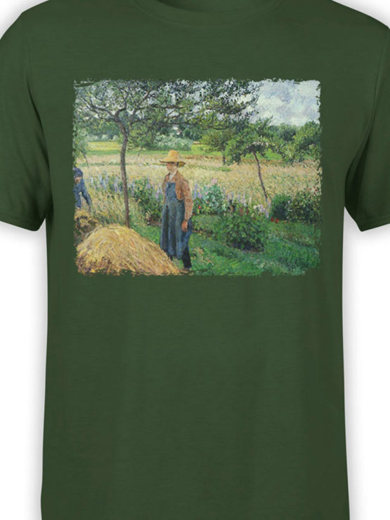 1389 Camille Pissarro T Shirt Grey Weather Morning with Figures Front Color