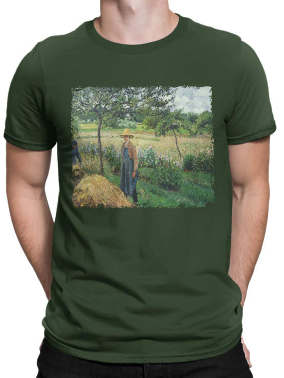 1389 Camille Pissarro T Shirt Grey Weather Morning with Figures Front Man