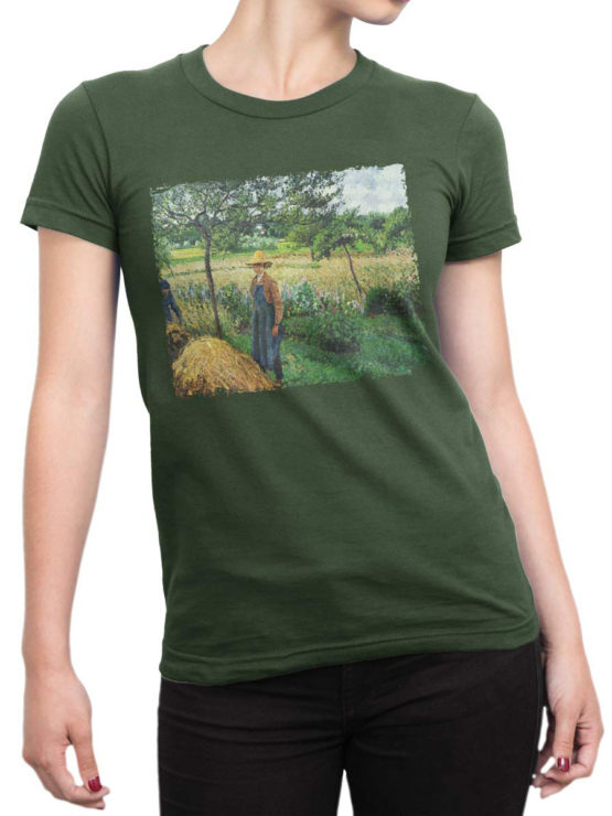 1389 Camille Pissarro T Shirt Grey Weather Morning with Figures Front Woman