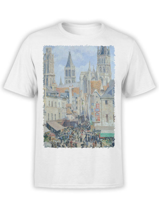 1390 Camille Pissarro T Shirt The Old Market and the Street of Epicerie in Rouen Front