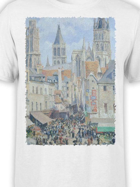 1390 Camille Pissarro T Shirt The Old Market and the Street of Epicerie in Rouen Front Color