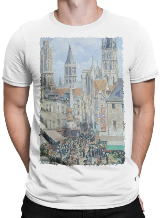 1390 Camille Pissarro T Shirt The Old Market and the Street of Epicerie in Rouen Front Man