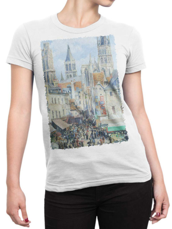1390 Camille Pissarro T Shirt The Old Market and the Street of Epicerie in Rouen Front Woman